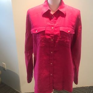 Ralph Lauren shirt pink color size L  100 % linen